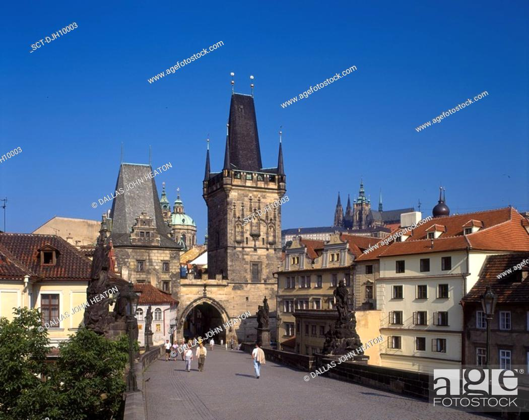 Stock Photo: Charles Street Bridge and Mala Strana Tower in Old Town, Prague, Czech Republic. (Gothic Architecture).