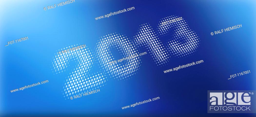 Stock Photo: 2013 on a blue abstract background.