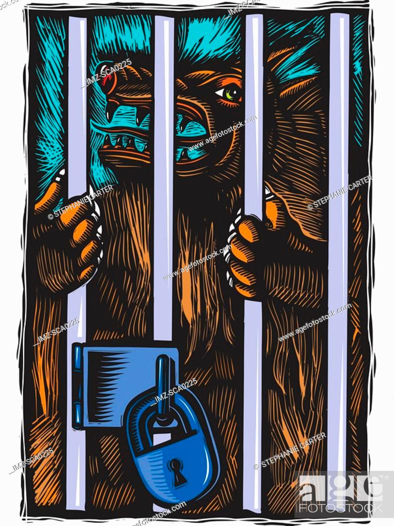 Stock Photo: Monster in locked cage.