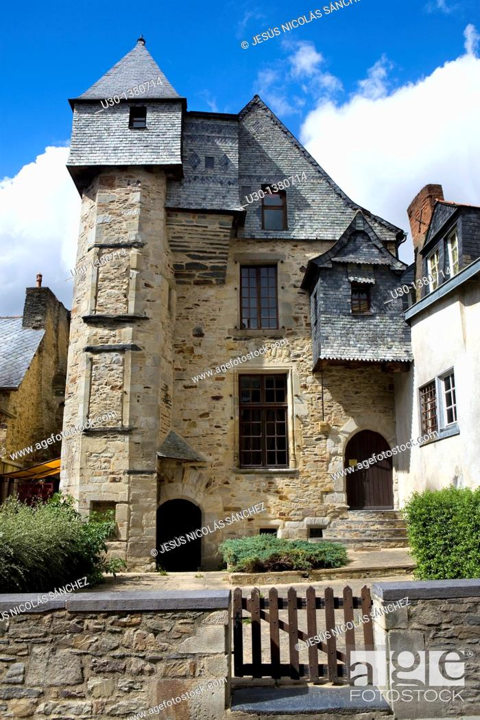 Stock Photo: Typical houses of the old town of Vitré, in Ille-et-Vilaine department  Brittany Region, France.