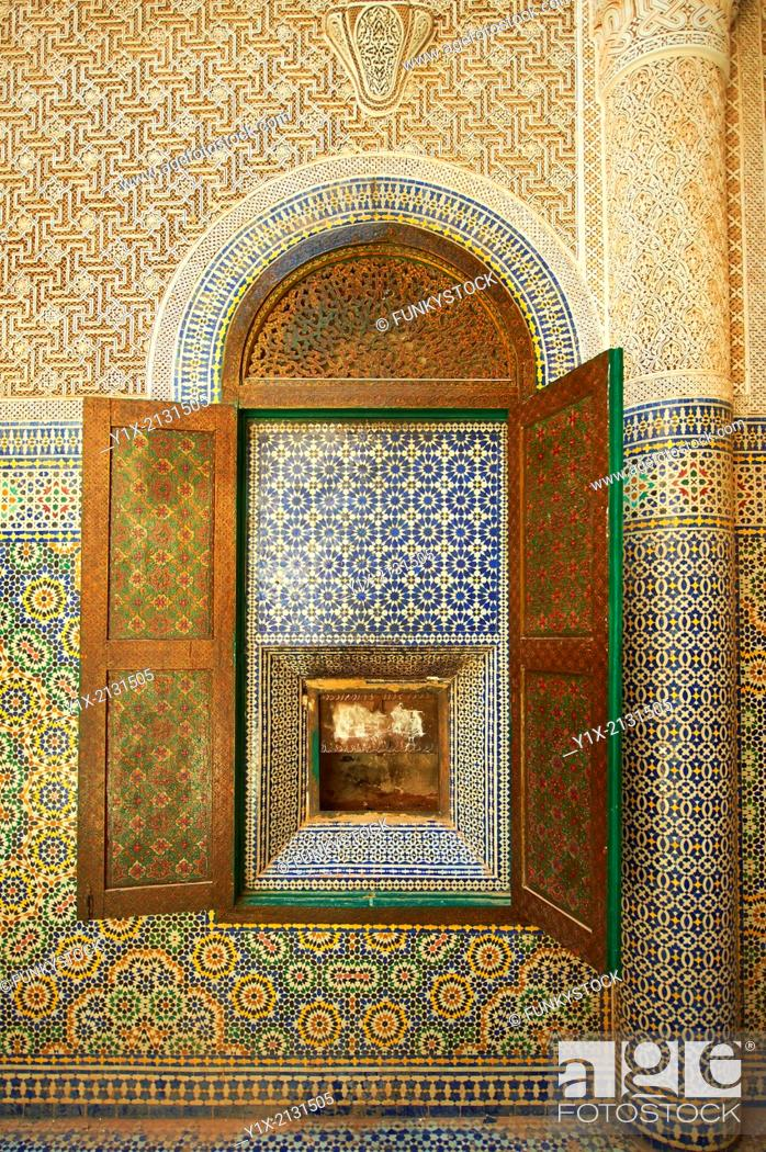 Stock Photo: Berber Zellige decorative tiles inside the Riad of the Kasbah Telouet, Atlas Mountains, Morocco.