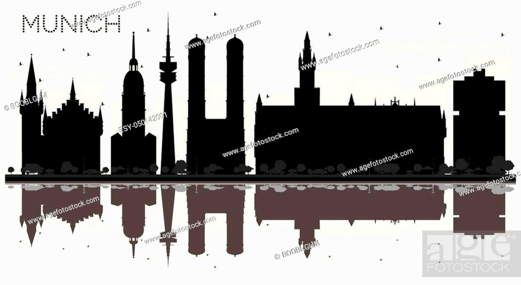Stock Vector: Munich Germany City skyline black and white silhouette with Reflections. Business travel concept. Munich Cityscape with landmarks.