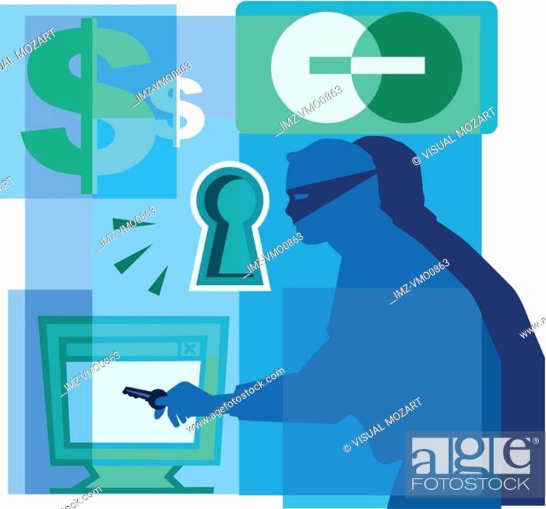 Stock Photo: A montage of a credit card, dollar signs, a keyhole, a thief with a key, and a computer screen.