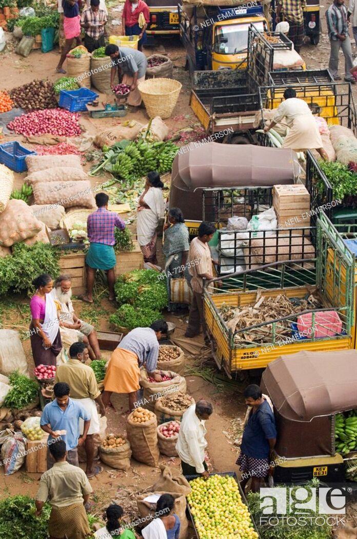 Stock Photo: Early Morning Market, Trivandrum, Kerala, India.