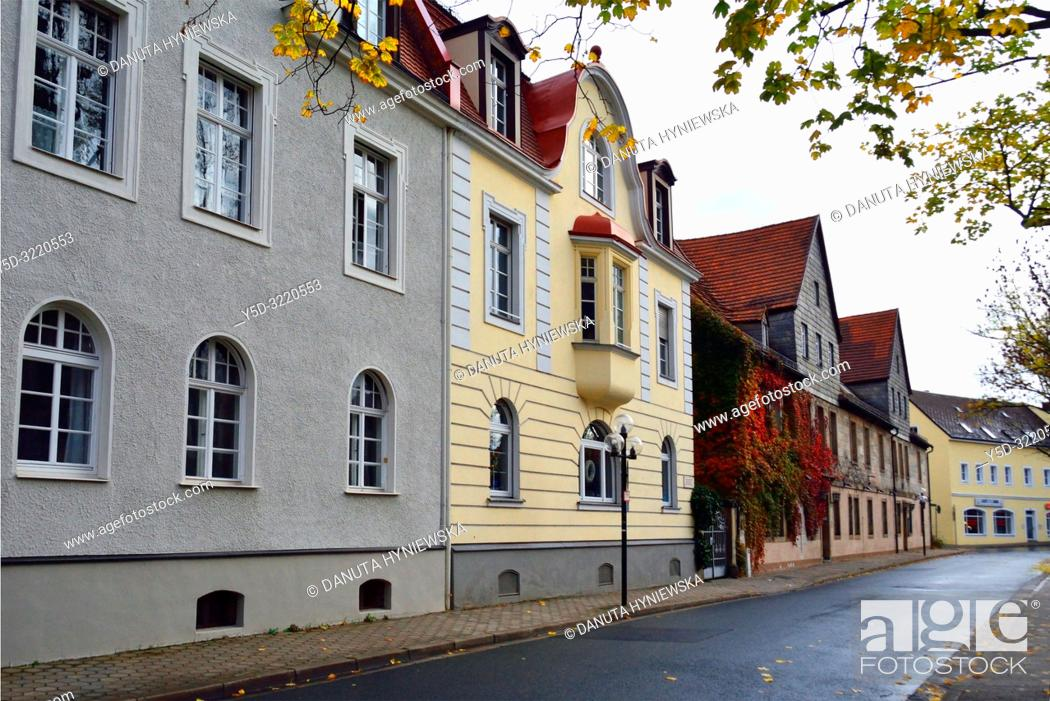 Stock Photo: Street scene, facades traditional historic townhouses, Munzgasse street next to Margravial Opera House, old town of Bayreuth, capital of Upper Franconia.