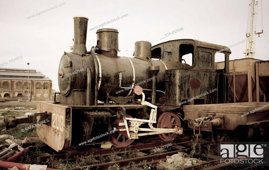 Stock Photo: Old AHM steam locomotive, Sagunto, Valencia. Spain.