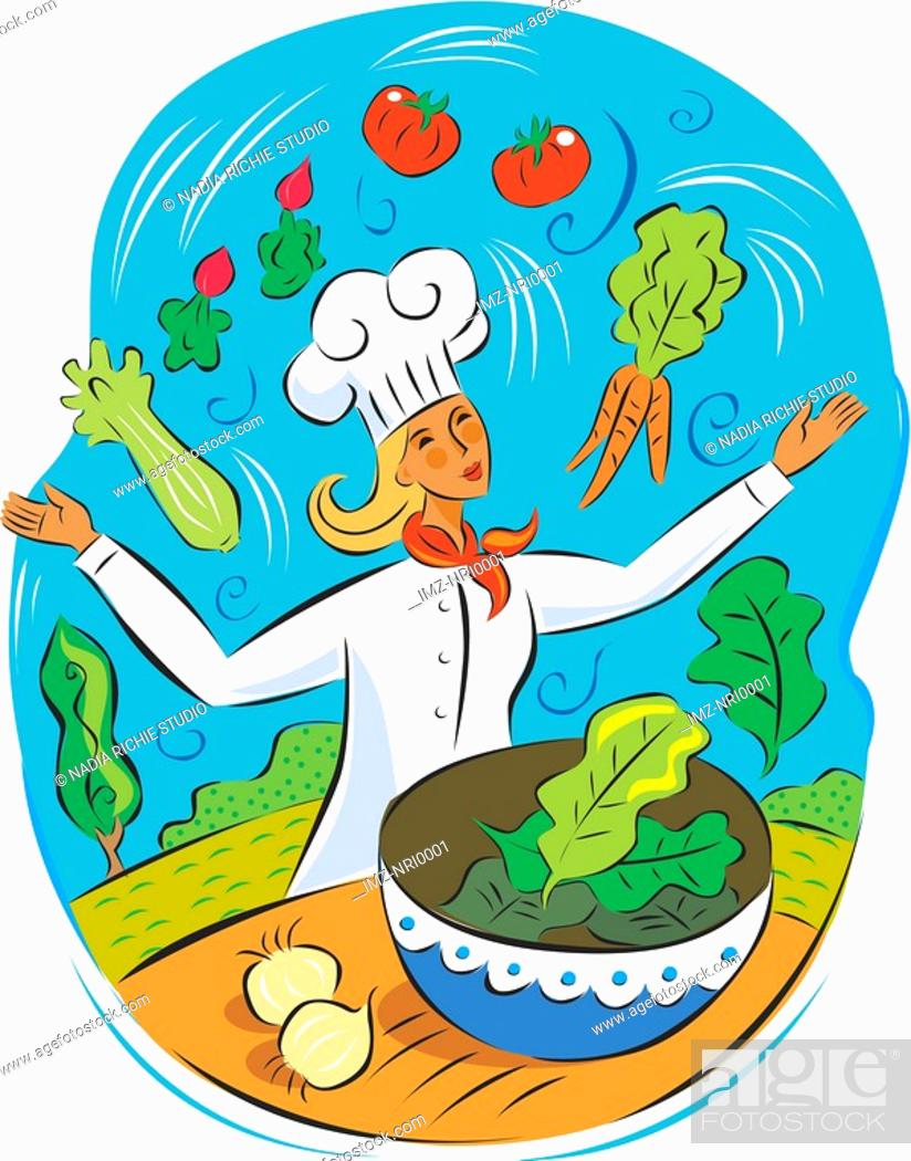 Stock Photo: A chef juggling healthy food.