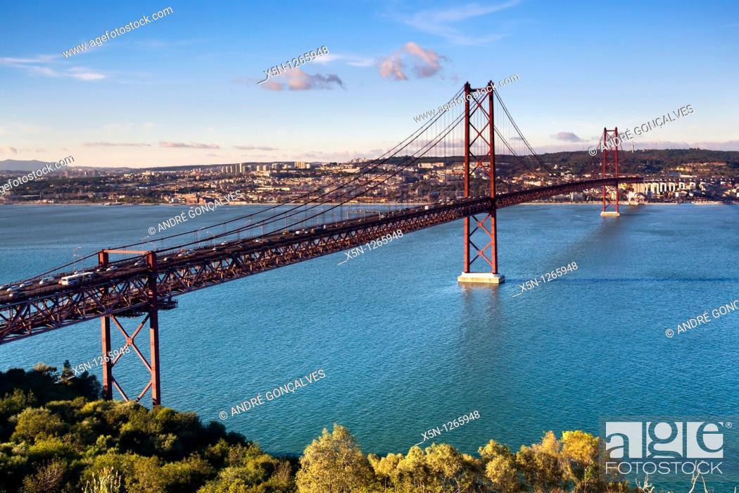 Stock Photo: 25th of April Suspension Bridge in Lisbon, Portugal.