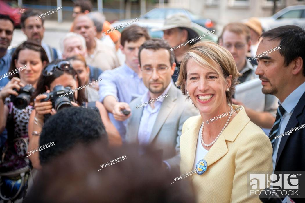 Stock Photo: Democratic NYS gubernatorial candidate Zephyr Teachout speaks at a news conference in New York about receiving the endorsement of the National Organization of.