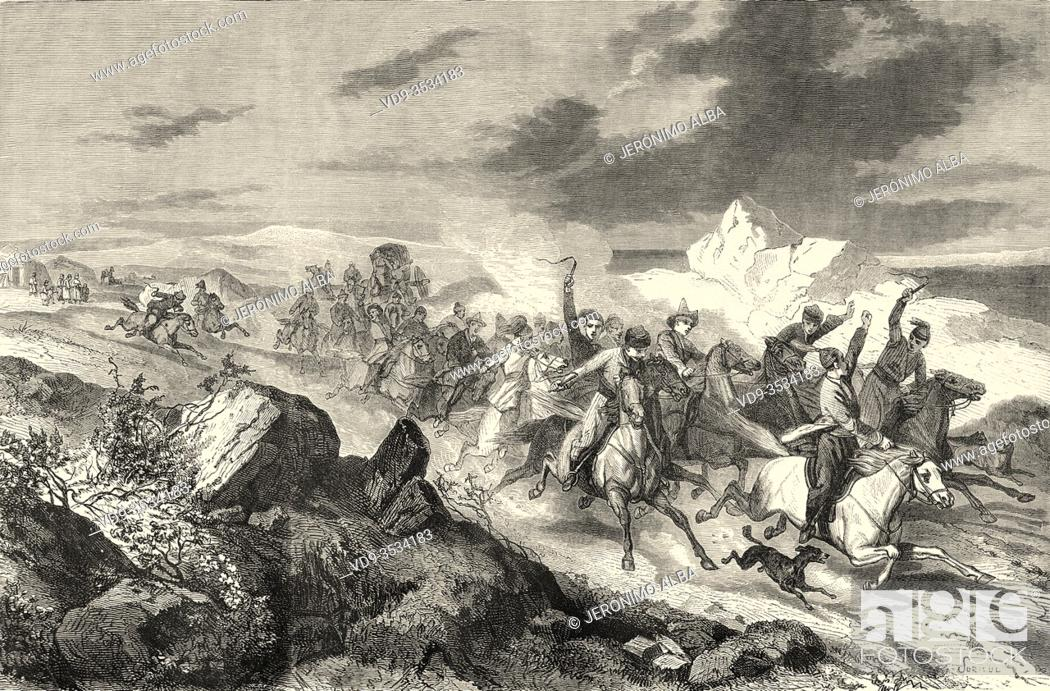Stock Photo: Traditional relay race for Kyrgyz horseback riders. Kyrgyzstan, Central Asia. Old 19th century engraved illustration, Le Tour du Monde 1863.