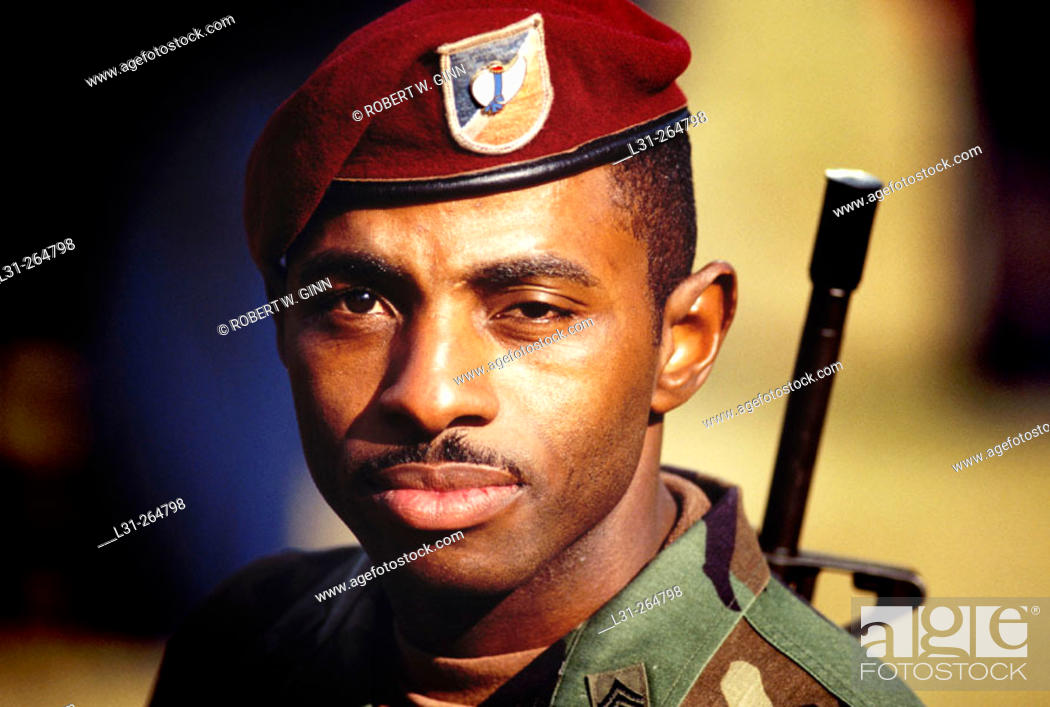 e430c0e5ac053 View Images Black soldier in red beret stock photo picture and rights  managed