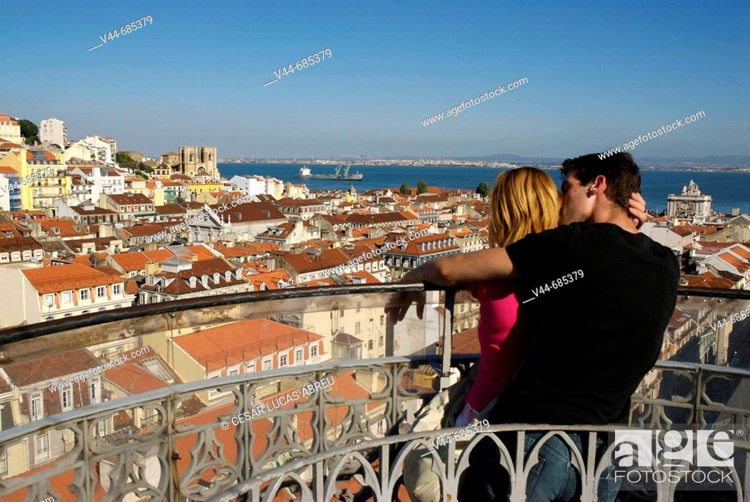 Stock Photo: Cathedral of the Sé and Alfama quarter overview from la Gloria Terrace. Lisbon, Portugal.