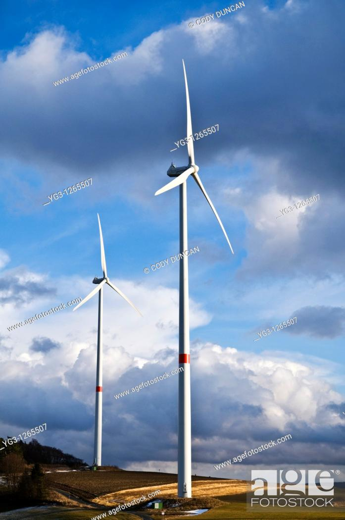Stock Photo: Wind turbines in Bavarian farm field, Franconia, Germany.