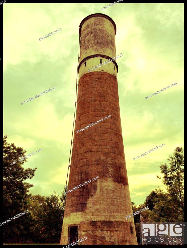 Stock Photo: Low angle view of the old water tower, a landmark in the Old Fourth Ward, Atlanta, Georgia.