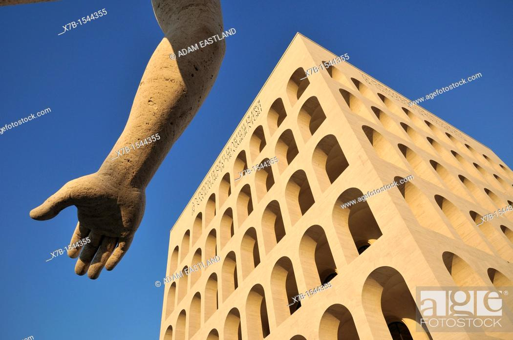 Stock Photo: Rome Italy EUR Palazzo della Civiltà Italiana, aka Palazzo della Civiltà del Lavoro.
