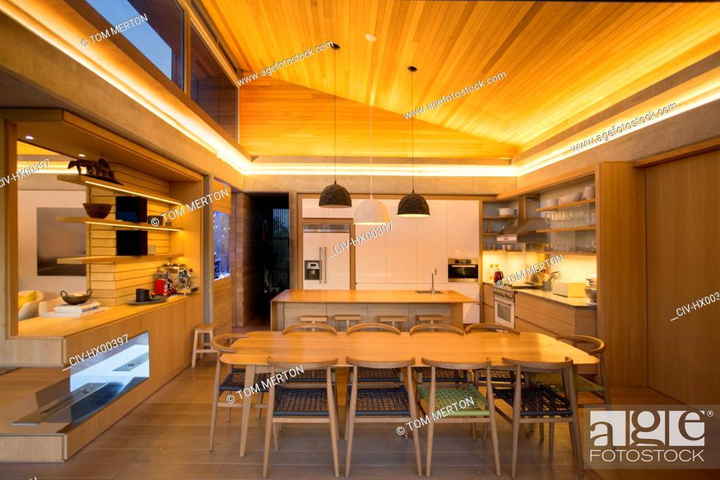 Stock Photo: Illuminated home showcase kitchen.