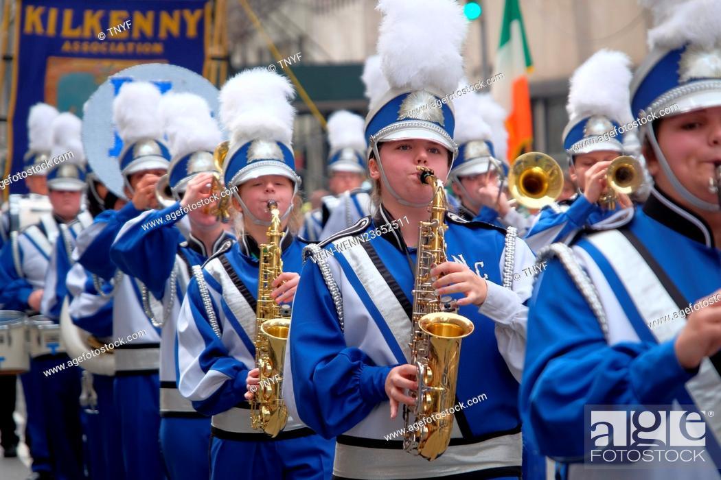 Stock Photo: Mayor Deblasio marches in St Patricks parade Featuring: Atmosphere, Mayor DeBlasio, Cardinal Dolan, Govenor Cuomo Where: Manhattan, New York.