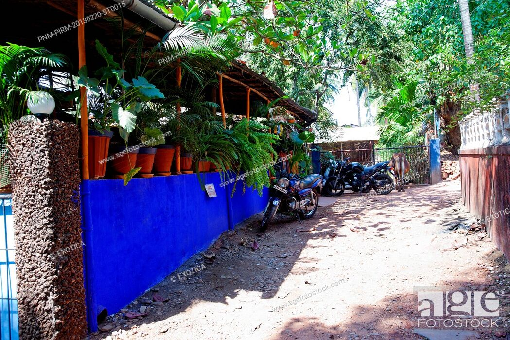 Imagen: Motorcycles parked outside a restaurant, Baba au Rhum Restaurant, Opposite Uttam Resorts, Near Club Cubana, Arpora, Bardez, North Goa, Goa, India.