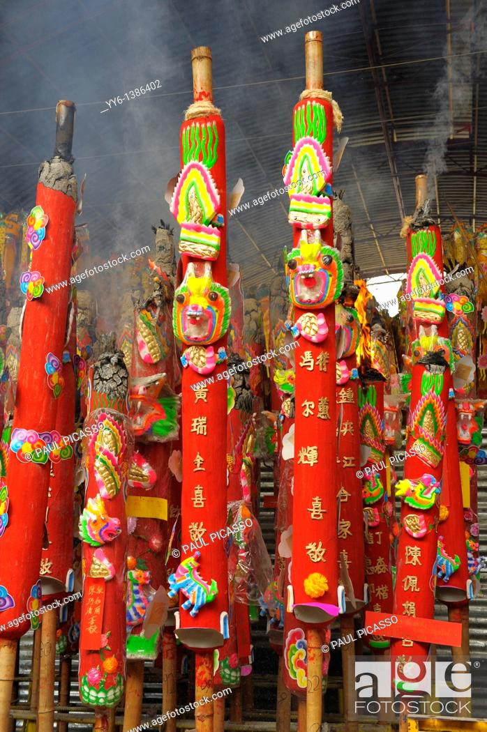 Stock Photo: giant candles offered for merit , Vegetarian festival at San Jao Sieng Kong shrine , wat sung heng yee, Chinatown , Bangkok,.