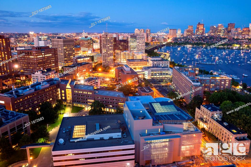 Stock Photo: Aerial view of Cambridge and Boston's Back Bay.