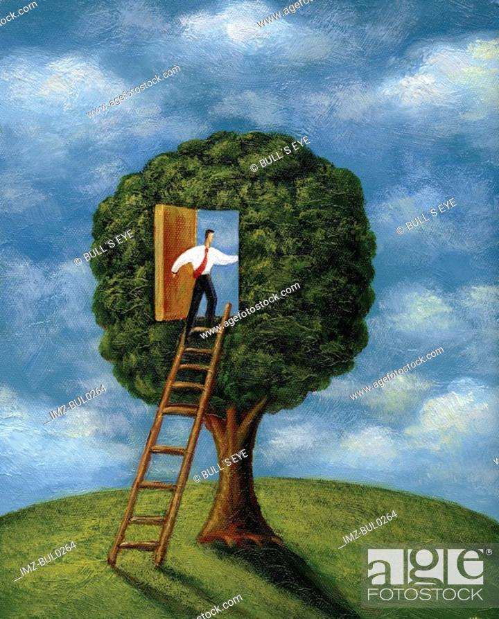 Stock Photo: Businessman climbing ladder into a doorway in a tree.