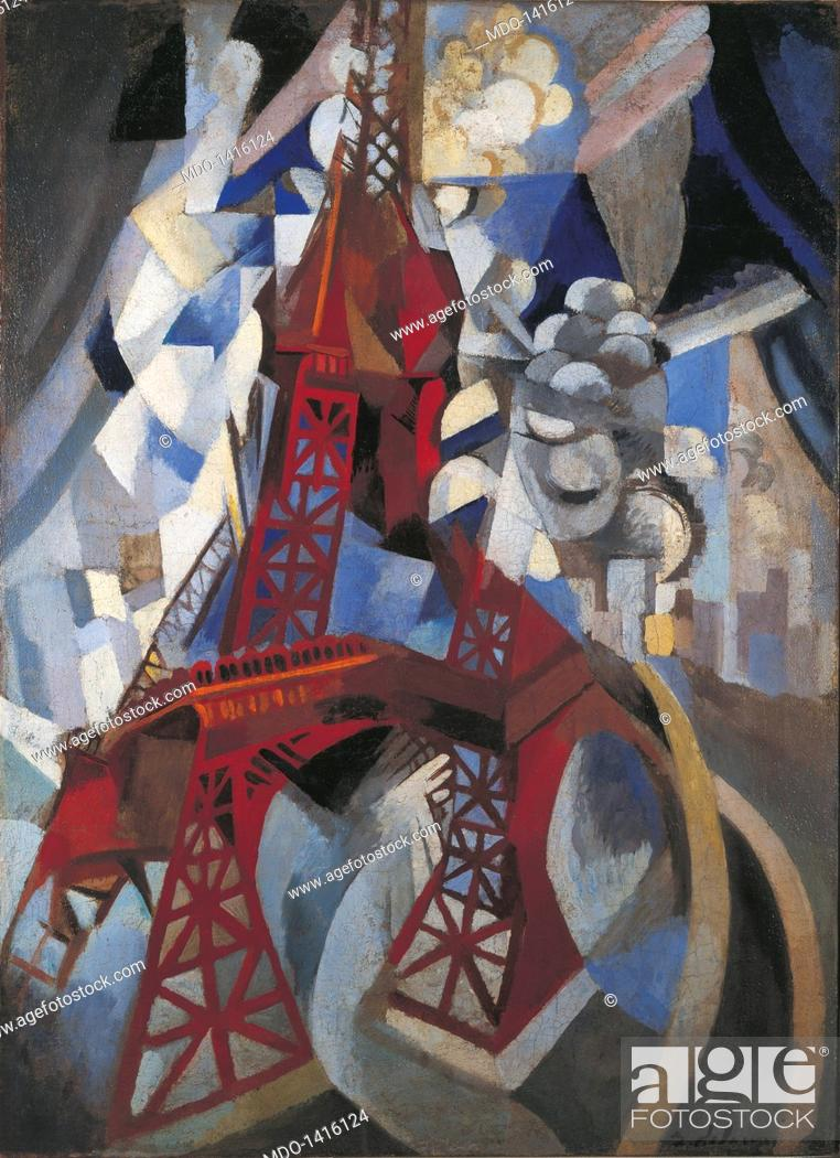 Stock Photo: Red Eiffel Tower (La tour rouge), by Robert Delaunay, 1911-1912, 20th Century, oil on canvas, 125 x 90 cm. USA, New York, Solomon R. Guggenheim Museum.