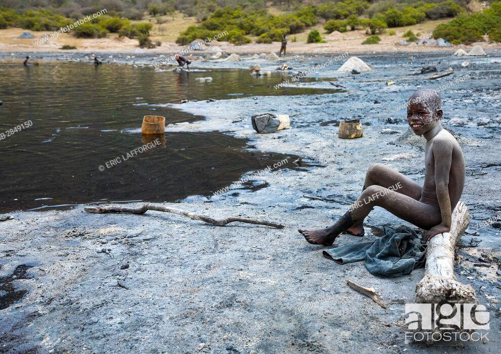 Stock Photo: Volcano crater where Borana tribe men dive to collect salt, Oromia, El Sod, Ethiopia.