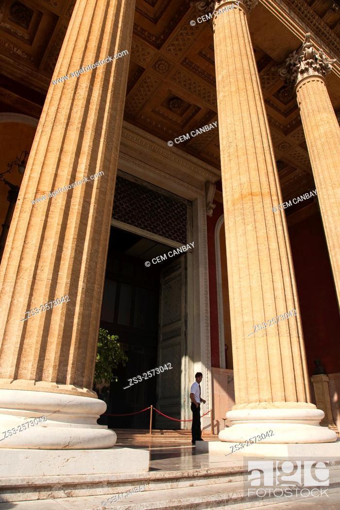 Guard near the columns of Teatro Massimo- Opera House, Palermo ...
