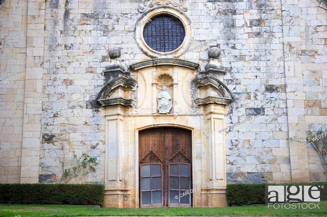 Stock Photo: Church detail in Monells. Baix Emporda, Girona province, Catalonia, Spain.