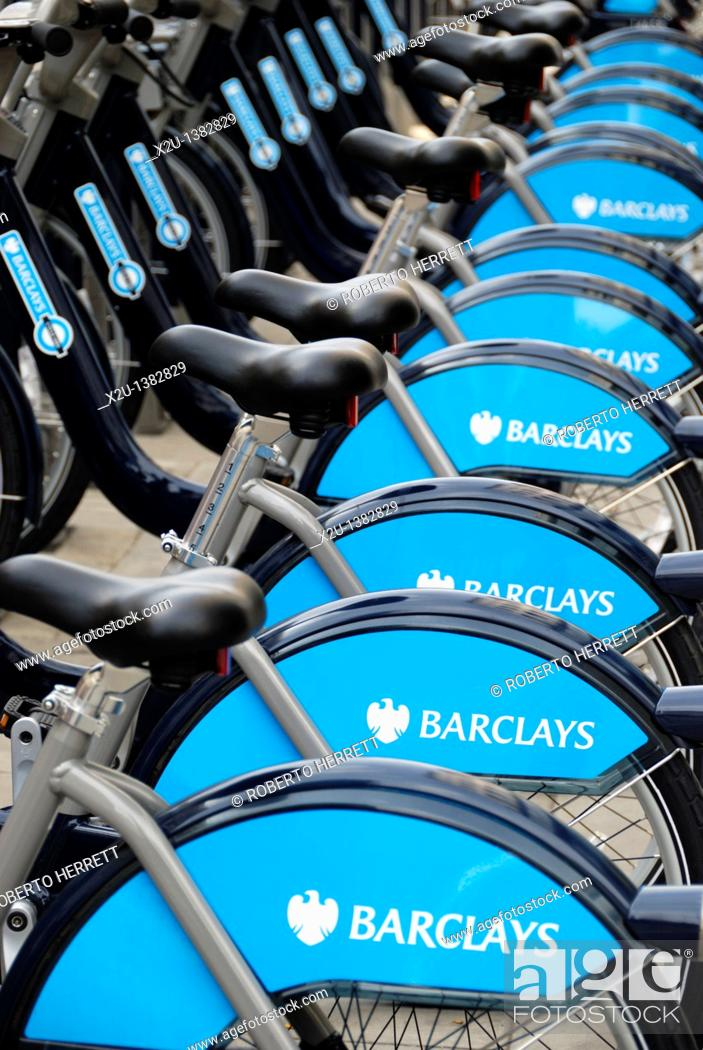 Stock Photo: Barclays Cycle Hire bicycles, London, England.