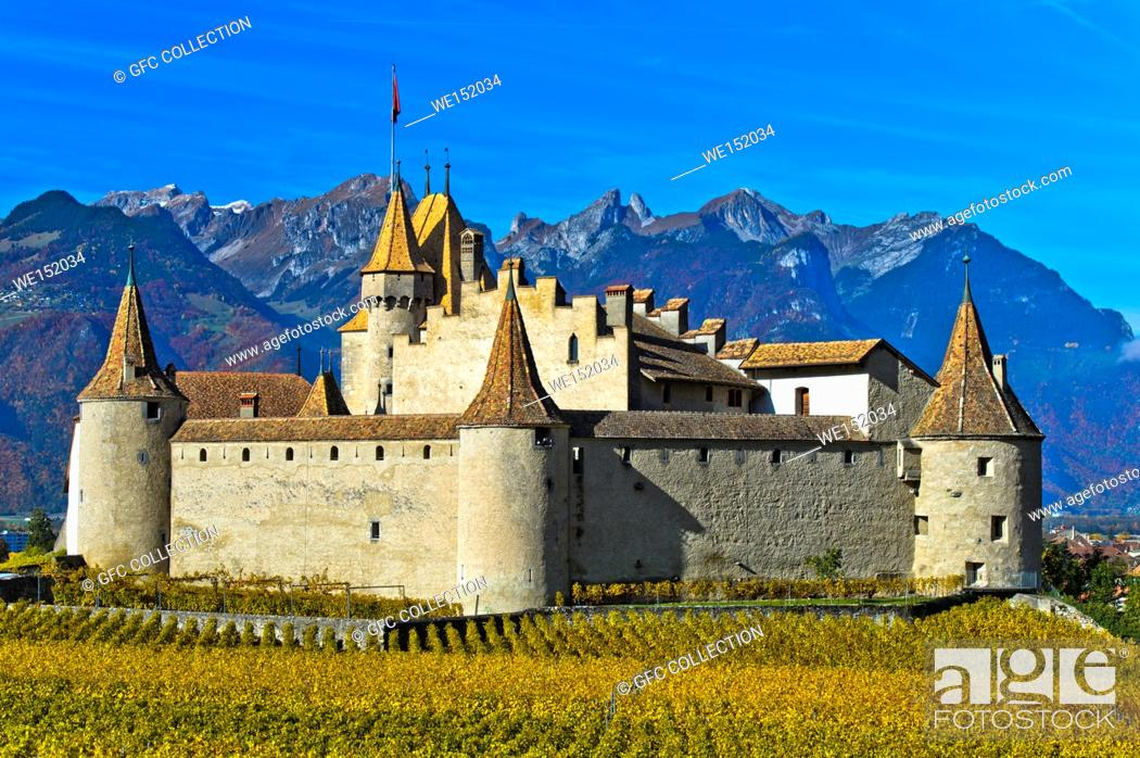 Photo de stock: Vine and wine museum Aigle Castle, Chateau d'Aigle, Aigle, Vaud, Switzerland.