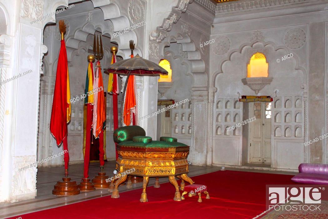 Stock Photo: Throne room , Mehrangarh Fort, Jodhpur, Rajasthan, India.