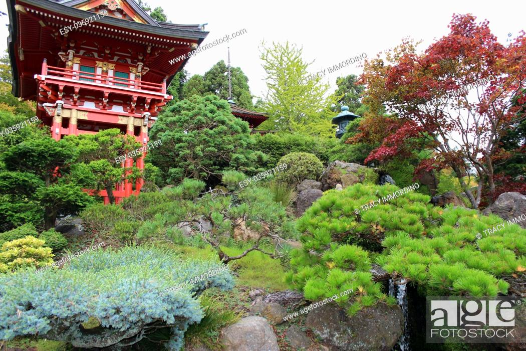 Stock Photo: Japanese pagodas and stone lantern in a landscaped Japanese garden in California, USA.