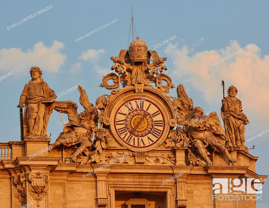 Stock Photo: Ornate decorative detail on facade of St Peter's Basilica, Rome, Lazio, Italy, Europe.
