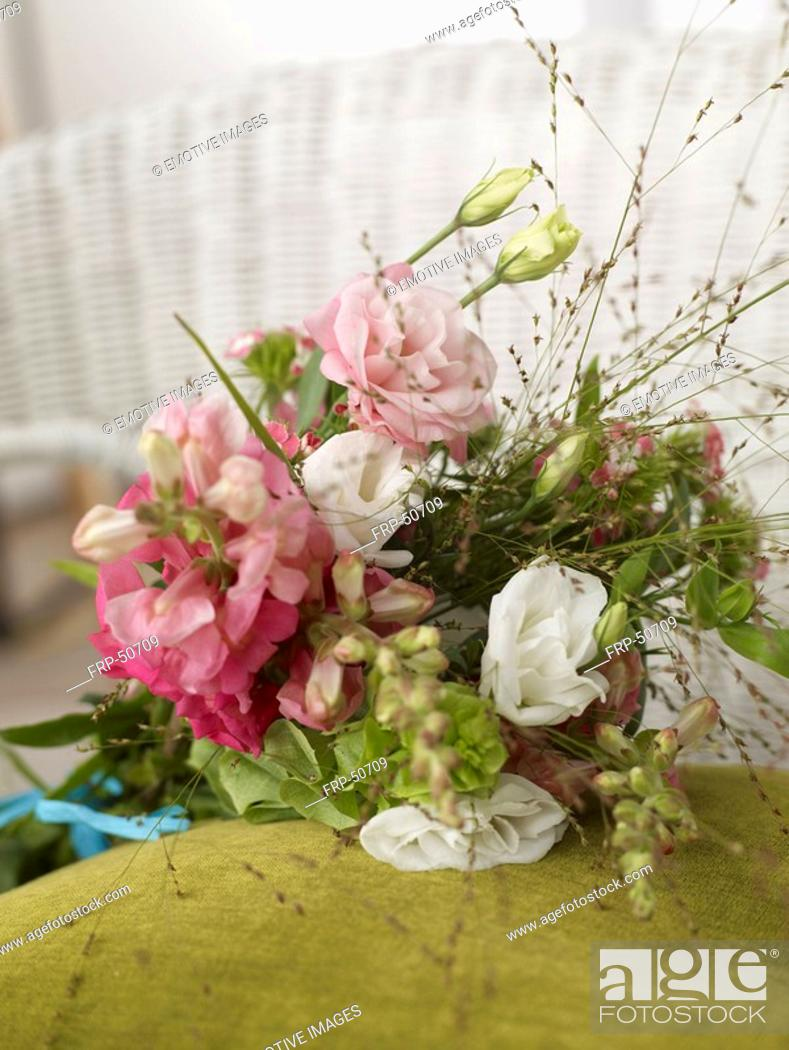 Stock Photo: Bouquet of eustoma and antirrhinum.