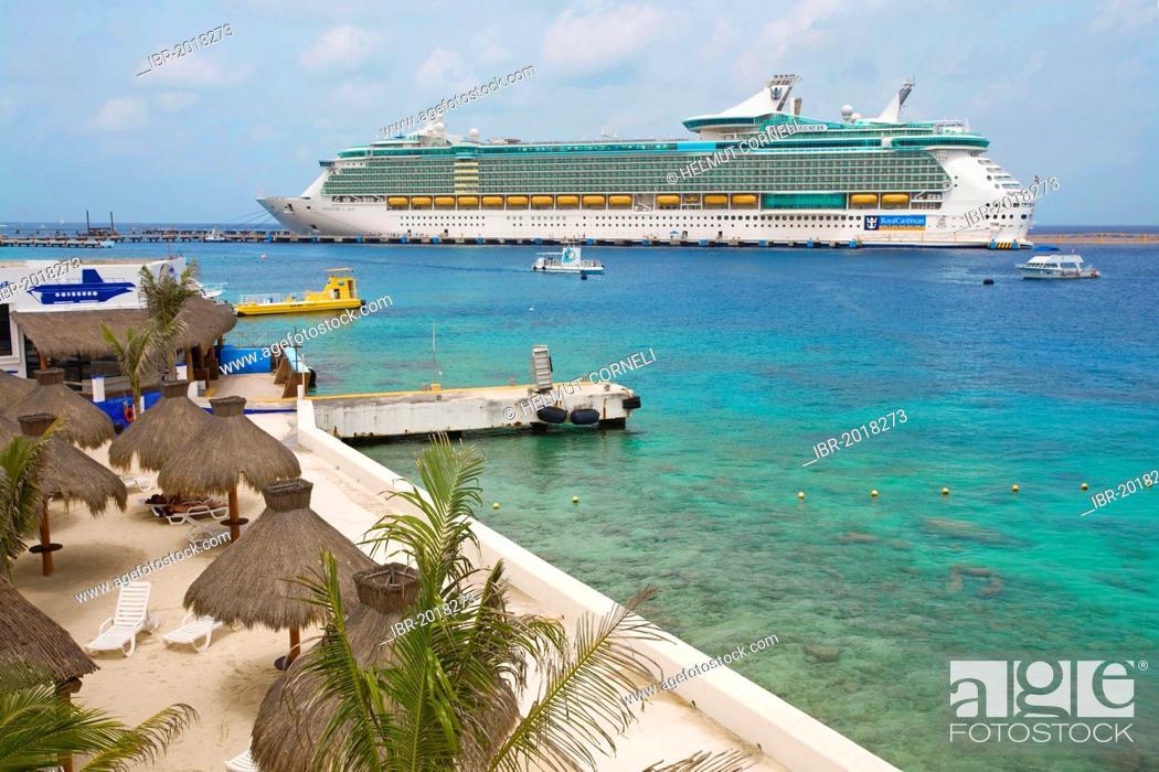 Stock Photo: Freedom of the Seas, a cruise ship, small beach, San Miguel, Cozumel, Mexico, Caribbean.