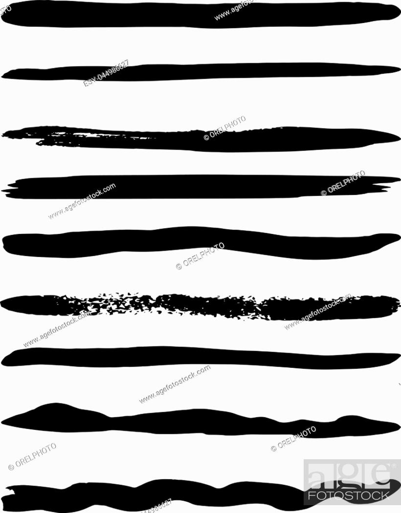 Stock Vector: Set of nine vector brushes. Vector illustration.