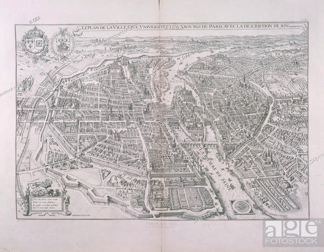 Cartography, France, 17th century  Map of Paris by Matthieu Merian