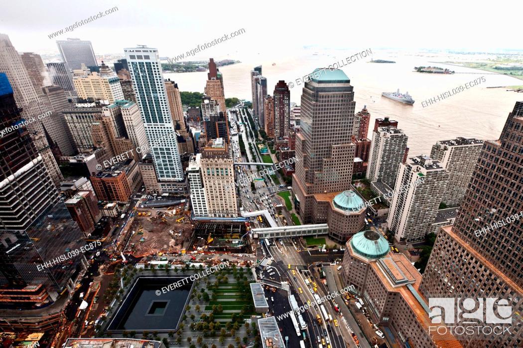 Stock Photo: World Trade Center Ground Zero site under reconstruction Sept. 8, 2011. Three days before the 10th anniversary of 9-11 Terrorist Attacks.