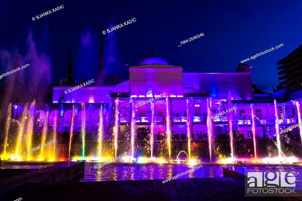 Stock Photo: Fountain show, Paseo de Buen Pastor, Shopping and Entertainment complex, Cordoba, Argentina.