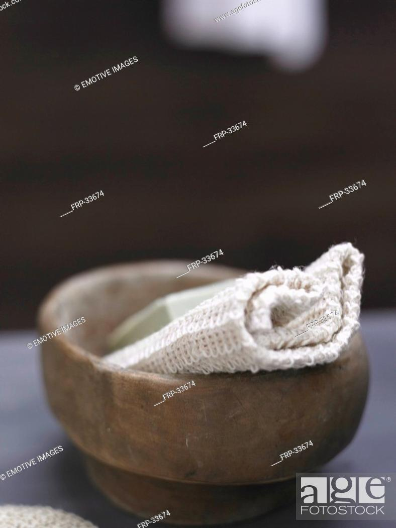 Stock Photo: washcloth in a wooden dash.