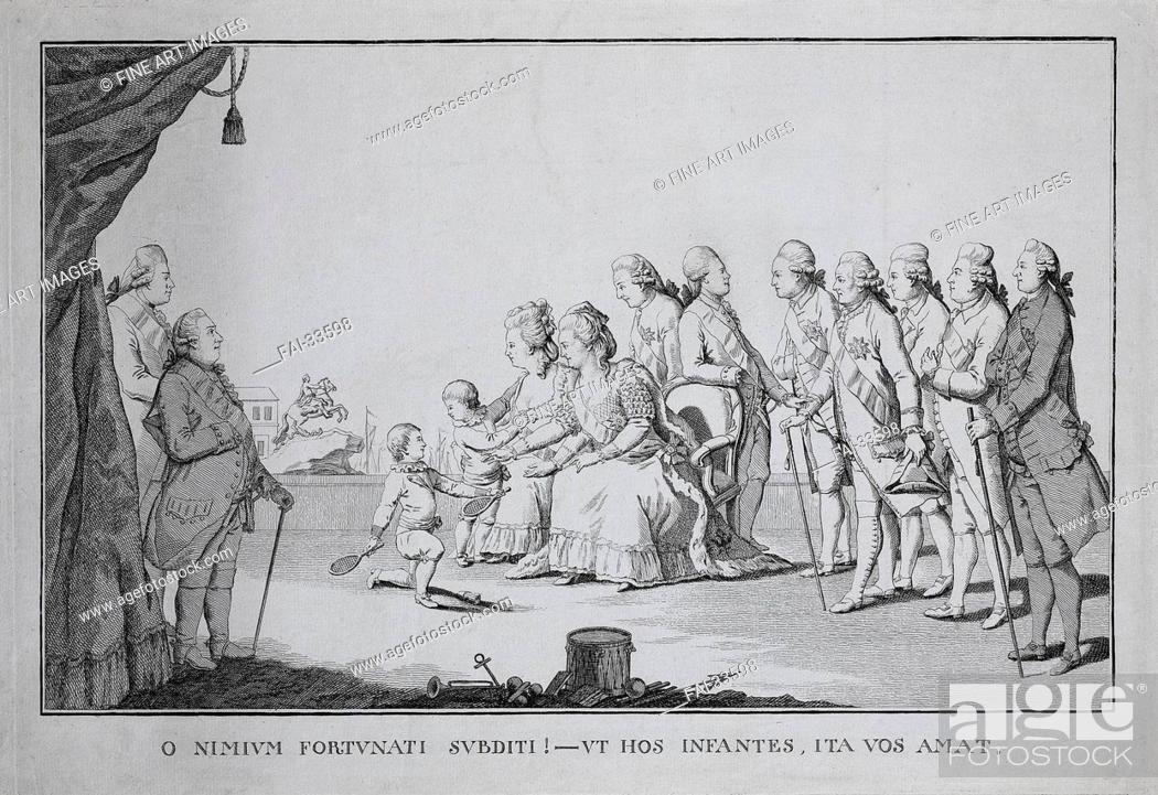 Stock Photo: Catherine II, surrounded by family members and courtiers by Sideau, Frederic George (active 1780s)/Copper engraving/Neoclassicism/1782/France/State Hermitage.