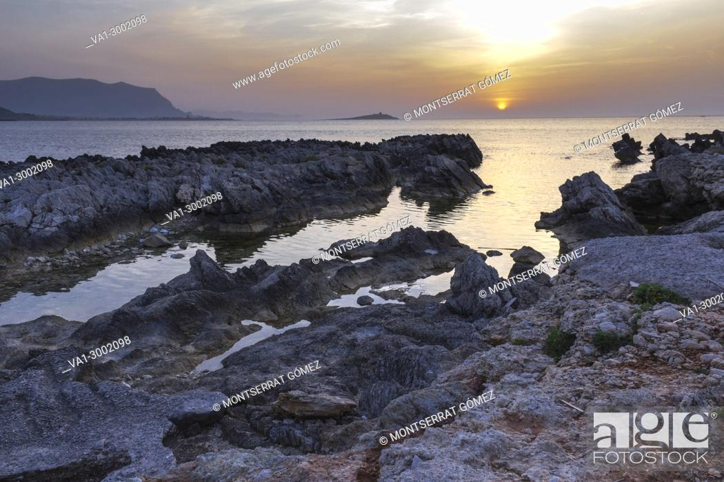 Stock Photo: A striking view of Island of ladies at dusk. Palermo, Sicily. Italy.