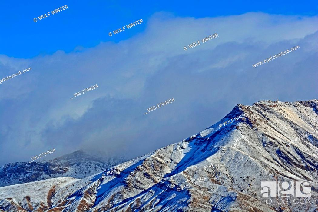 Stock Photo: Snow covered mountains in the High Atlas, South of Morocco.