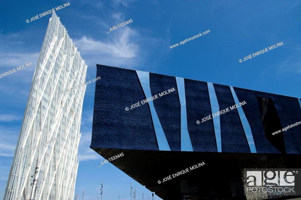 Stock Photo: Spain. Barcelona city. Diagonal Zero Zero Tower (2011) designed by the architec Enric Massip and the Forum Building.