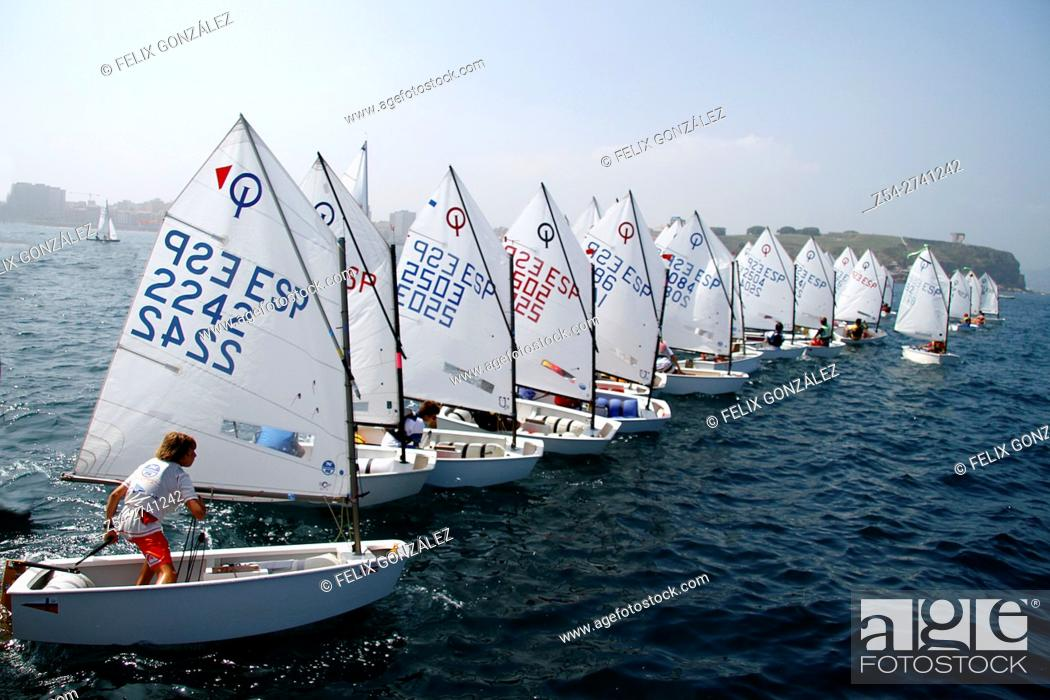 Stock Photo: Sailing Optimist Race, Gijon Asturias, Spain.
