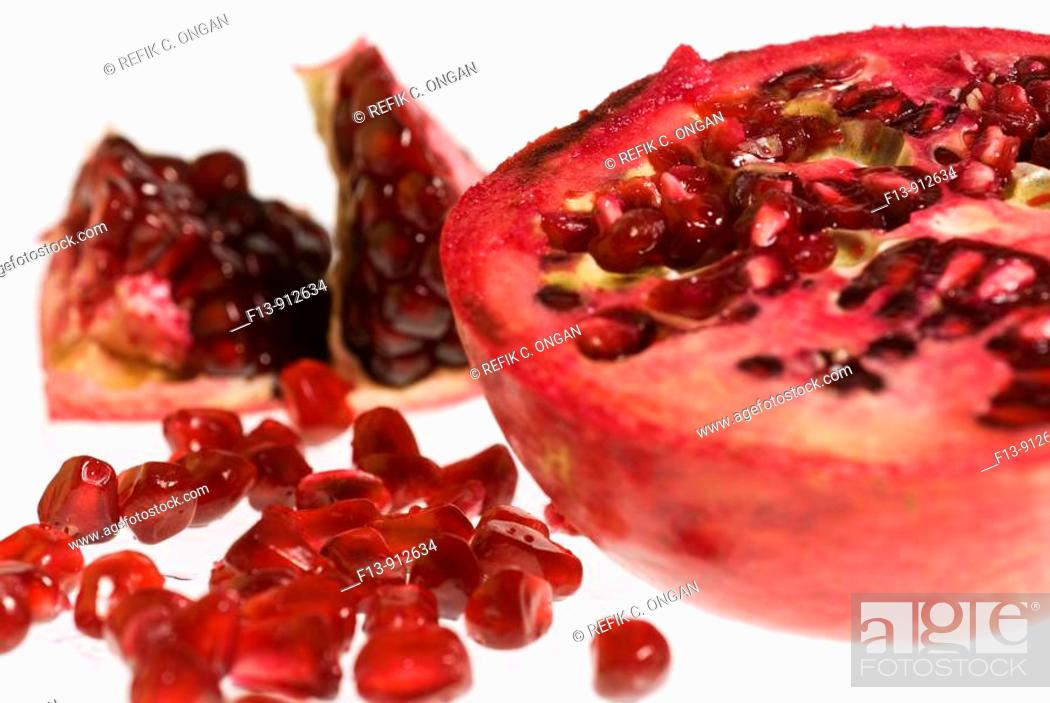 Stock Photo: pornegranate apple slice detail.