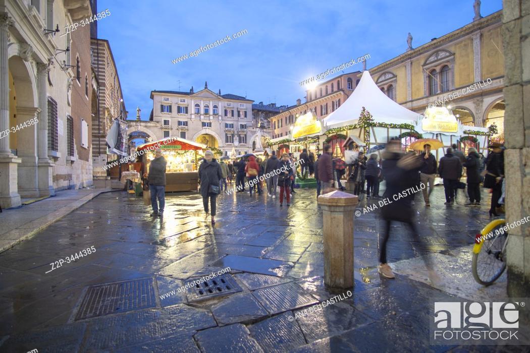 Stock Photo: Verona Veneto on November 23, 2019 Christmas market by dusk.