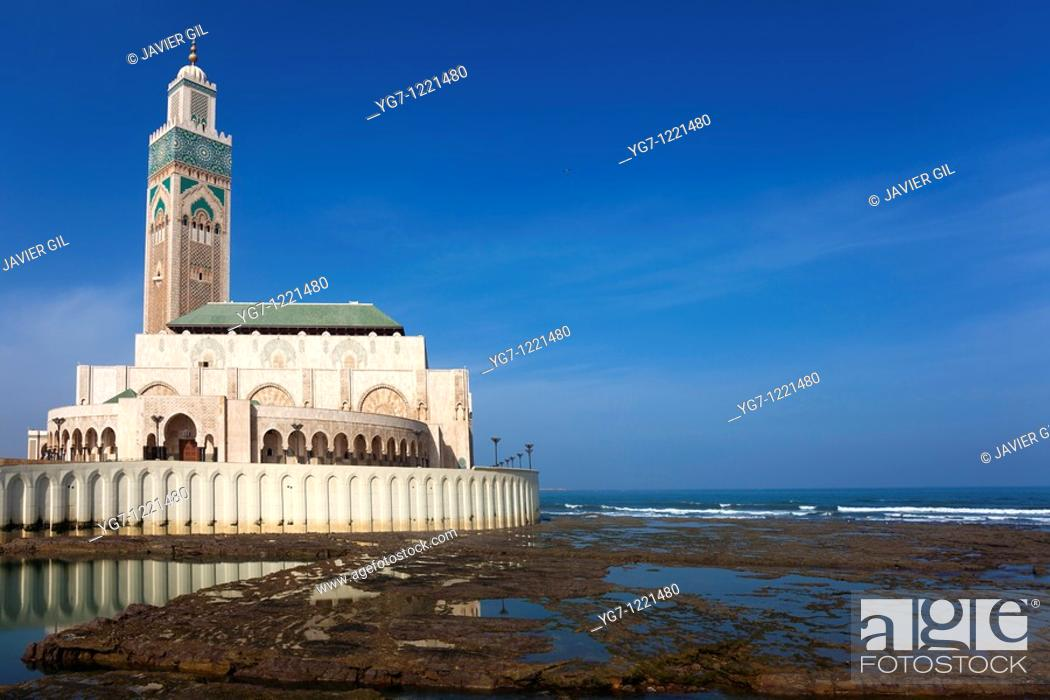 Stock Photo: Hassan II Mosque, Casablanca, Morocco.
