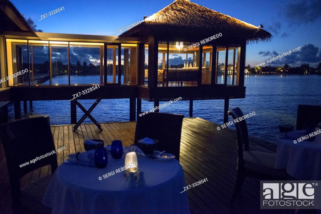 Stock Photo: The Residence Hotel and Resort restaurant, Gaafu Alifu Atoll. Maldives Islands.